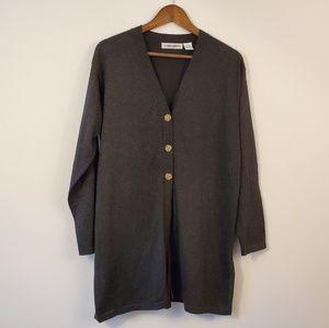 NWT CHAUS metallic long v-neck cardigan sweater